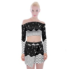 Black And White Waves And Stars Abstract Backdrop Clipart Off Shoulder Top With Skirt Set