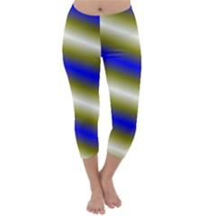 Color Diagonal Gradient Stripes Capri Winter Leggings