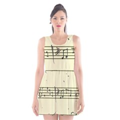 Music Notes On A Color Background Scoop Neck Skater Dress