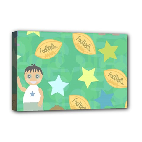 Football Kids Children Pattern Deluxe Canvas 18  X 12   by Nexatart