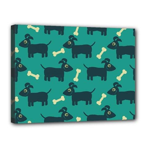 Happy Dogs Animals Pattern Canvas 16  X 12  by Nexatart