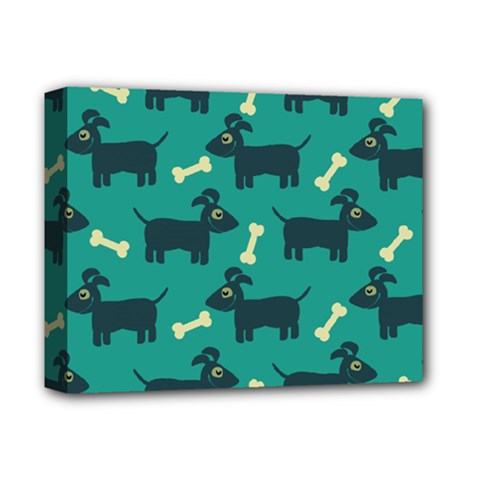 Happy Dogs Animals Pattern Deluxe Canvas 14  X 11  by Nexatart