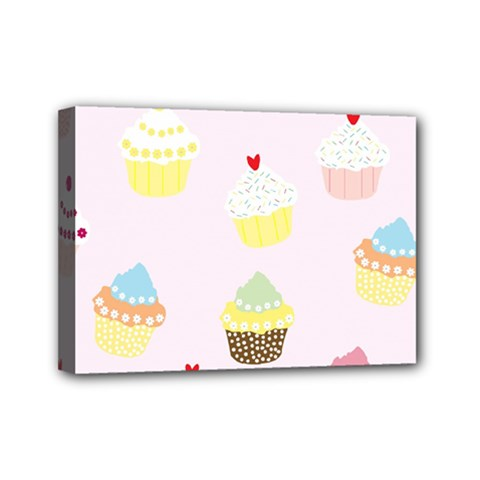 Seamless Cupcakes Wallpaper Pattern Background Mini Canvas 7  X 5