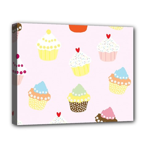 Seamless Cupcakes Wallpaper Pattern Background Deluxe Canvas 20  X 16