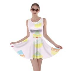 Seamless Cupcakes Wallpaper Pattern Background Skater Dress
