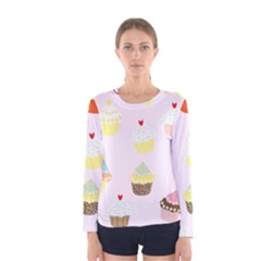 Seamless Cupcakes Wallpaper Pattern Background Women s Long Sleeve Tee