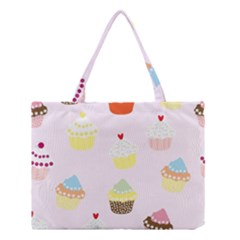 Seamless Cupcakes Wallpaper Pattern Background Medium Tote Bag