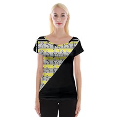Note Abstract Paintwork Women s Cap Sleeve Top