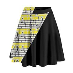 Note Abstract Paintwork High Waist Skirt by Nexatart