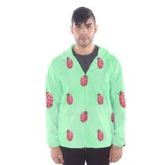 Pretty Background With A Ladybird Image Hooded Wind Breaker (men)