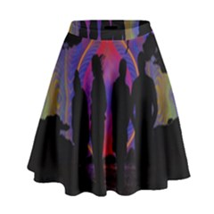 Abstract Surreal Sunset High Waist Skirt by Nexatart