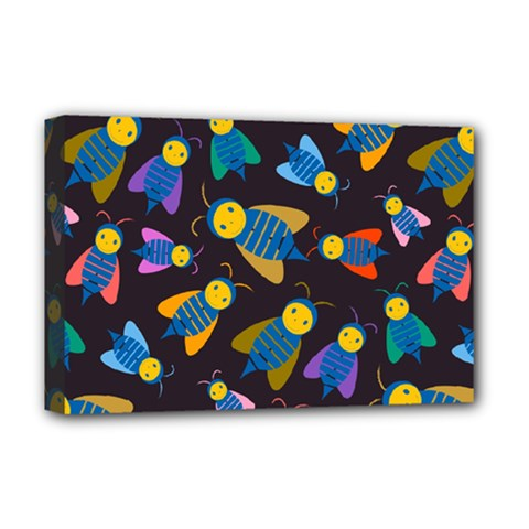 Bees Animal Insect Pattern Deluxe Canvas 18  X 12   by Nexatart