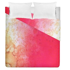 Abstract Red And Gold Ink Blot Gradient Duvet Cover Double Side (queen Size)