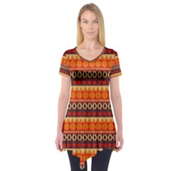 Abstract Lines Seamless Pattern Short Sleeve Tunic