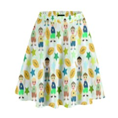 Football Kids Children Pattern High Waist Skirt by Nexatart