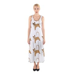 Cute Cats Seamless Wallpaper Background Pattern Sleeveless Maxi Dress