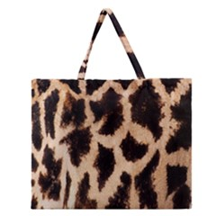 Yellow And Brown Spots On Giraffe Skin Texture Zipper Large Tote Bag by Nexatart