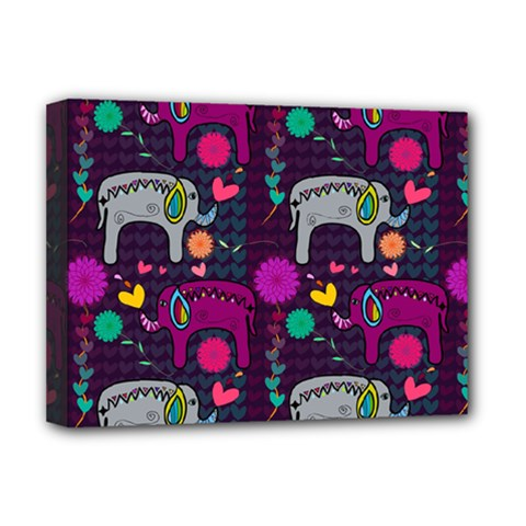 Love Colorful Elephants Background Deluxe Canvas 16  X 12   by Nexatart