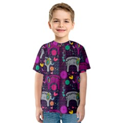 Love Colorful Elephants Background Kids  Sport Mesh Tee
