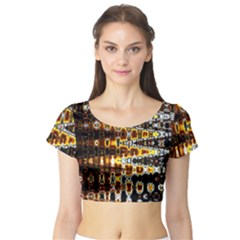 Bright Yellow And Black Abstract Short Sleeve Crop Top (tight Fit)
