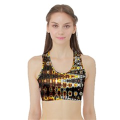 Bright Yellow And Black Abstract Sports Bra With Border