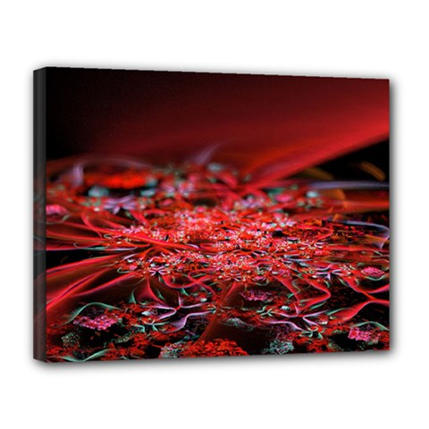 Red Fractal Valley In 3d Glass Frame Canvas 14  X 11  by Nexatart