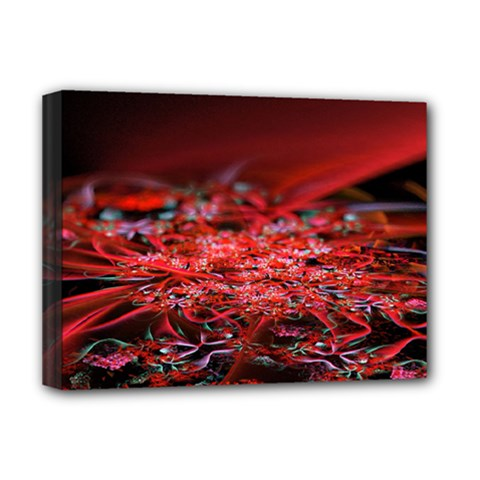 Red Fractal Valley In 3d Glass Frame Deluxe Canvas 16  X 12   by Nexatart
