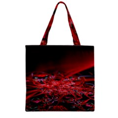 Red Fractal Valley In 3d Glass Frame Zipper Grocery Tote Bag by Nexatart