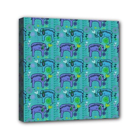 Elephants Animals Pattern Mini Canvas 6  X 6