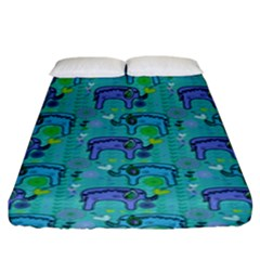 Elephants Animals Pattern Fitted Sheet (king Size)