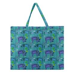 Elephants Animals Pattern Zipper Large Tote Bag by Nexatart