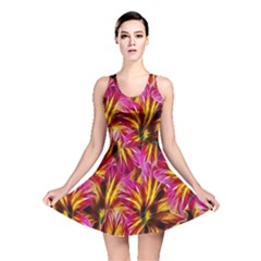 Floral Pattern Background Seamless Reversible Skater Dress