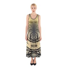 Atmospheric Black Branches Abstract Sleeveless Maxi Dress