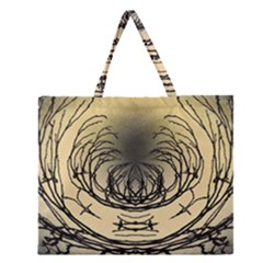 Atmospheric Black Branches Abstract Zipper Large Tote Bag by Nexatart