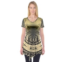 Atmospheric Black Branches Abstract Short Sleeve Tunic