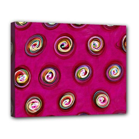 Digitally Painted Abstract Polka Dot Swirls On A Pink Background Canvas 14  X 11  by Nexatart