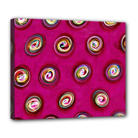 Digitally Painted Abstract Polka Dot Swirls On A Pink Background Deluxe Canvas 24  X 20   by Nexatart