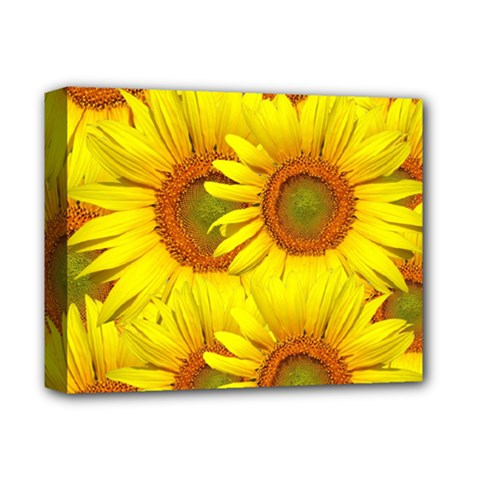 Sunflowers Background Wallpaper Pattern Deluxe Canvas 14  X 11  by Nexatart
