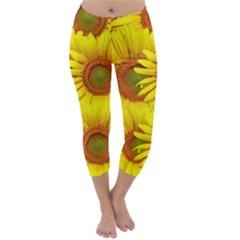 Sunflowers Background Wallpaper Pattern Capri Winter Leggings