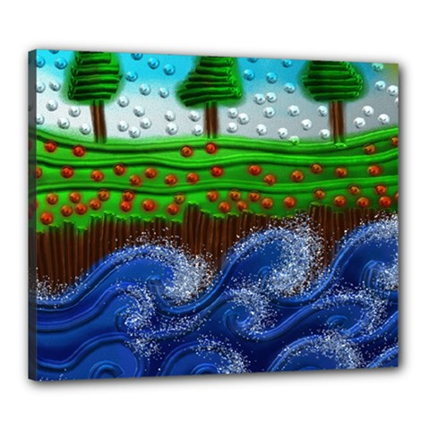 Beaded Landscape Textured Abstract Landscape With Sea Waves In The Foreground And Trees In The Background Canvas 24  X 20