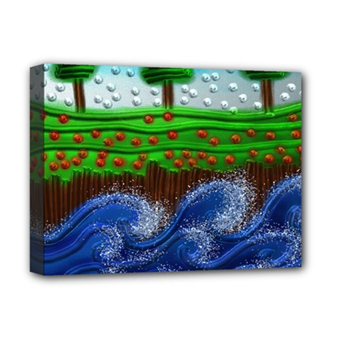 Beaded Landscape Textured Abstract Landscape With Sea Waves In The Foreground And Trees In The Background Deluxe Canvas 16  X 12