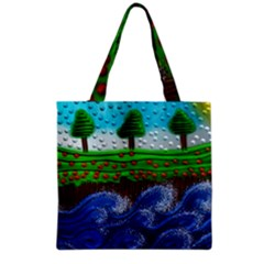 Beaded Landscape Textured Abstract Landscape With Sea Waves In The Foreground And Trees In The Background Grocery Tote Bag