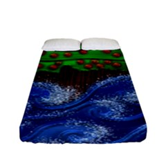 Beaded Landscape Textured Abstract Landscape With Sea Waves In The Foreground And Trees In The Background Fitted Sheet (full/ Double Size)