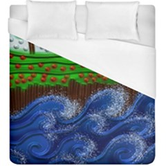 Beaded Landscape Textured Abstract Landscape With Sea Waves In The Foreground And Trees In The Background Duvet Cover (king Size)