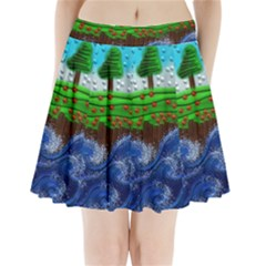 Beaded Landscape Textured Abstract Landscape With Sea Waves In The Foreground And Trees In The Background Pleated Mini Skirt by Nexatart