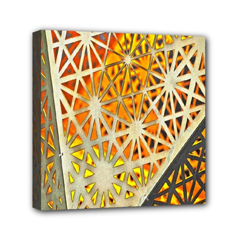 Abstract Starburst Background Wallpaper Of Metal Starburst Decoration With Orange And Yellow Back Mini Canvas 6  X 6  by Nexatart