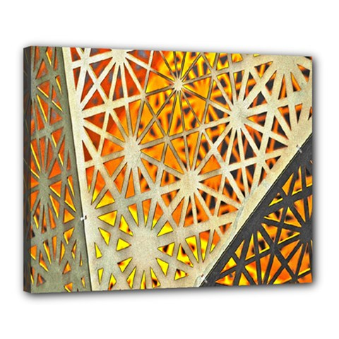 Abstract Starburst Background Wallpaper Of Metal Starburst Decoration With Orange And Yellow Back Canvas 20  X 16  by Nexatart