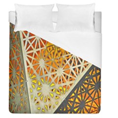 Abstract Starburst Background Wallpaper Of Metal Starburst Decoration With Orange And Yellow Back Duvet Cover (queen Size) by Nexatart