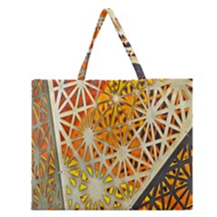 Abstract Starburst Background Wallpaper Of Metal Starburst Decoration With Orange And Yellow Back Zipper Large Tote Bag by Nexatart