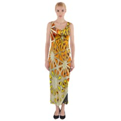 Abstract Starburst Background Wallpaper Of Metal Starburst Decoration With Orange And Yellow Back Fitted Maxi Dress by Nexatart